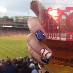 Baseball Nails (I'd do gold glitter over the blue instead for the Brew Crew)