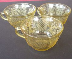 Antique Amber Depression Glass Coffee Cups Normandie | eBay