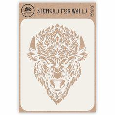 Bison Head Stencil Animal Stencil, Wallpaper Stencil, Bison, Stencils, Walls, Animals, Animales, Animaux, Wands