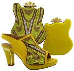 66.00$  Watch now - http://ali9mj.worldwells.pw/go.php?t=32779568874 - Nice-looking italian matching shoes and bag set ladies shoes and bag to match for nigerian wedding yellow !!  MJT1-19