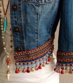 Mini Irridescent Multi Colored Tassels Embellished Boho Chic Bohemian Inspired One Of A Kind Upcycled Eco Friendly Denim Jacket - pinupi love to share Boho Chic, Bohemian Mode, Bohemian Style, Bohemian Gypsy, Sewing Clothes, Diy Clothes, Summer Clothes, Denim Fashion, Boho Fashion