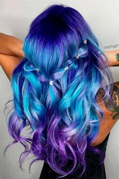 21 Trendy Styles For Blue Ombre Hair in 2018 Bright hair color Damen Haare Bright Hair Colors, Hair Dye Colors, Ombre Hair Color, Cool Hair Color, Purple Ombre, Pastel Ombre, Blue Purple Hair, Colorful Hair, Diy Ombre