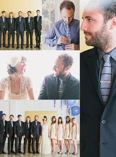 Melanie + Kelcey — groom: blue chambray shirt w/ gray + navy knit tie; groomsmen: blue chambray shirt w/ blue chambray tie (photography: our labor of love + max wanger, as seen in Green Wedding Shoes)