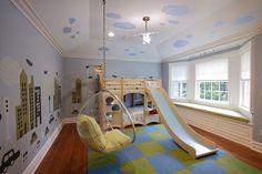 schönes Kinderzimmer Bett mit Rutsche Hängesessel Acryl