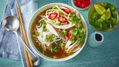 This wholesome Vietnamese noodle soup recipe uses the slow-cooker to make a richly flavoured stock for its base.  Equipment and preparation: For this recipe, you will neeed a medium-sized electric slow-cooker.  This meal provides 447 kcal, 58g protein, 43g carbohydrate (of which 3.5g sugars), 3g fat (of which 0.7g saturates), 1g fibre and 4g salt per portion.
