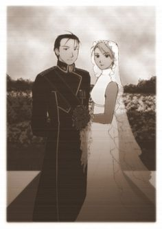 Roy and Riza possibly a photo that could be found in a history book in the future of amestres  according to the artist!!! awwww please please please!