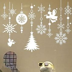 White Snowflake Merry Christmas Tree Vinyl wall sticker Decals Window decor for sale online Christmas Tree Vinyl, Christmas Window Stickers, Wall Stickers Window, Christmas Window Decorations, Removable Wall Stickers, Wall Stickers Murals, Christmas Snowflakes, Wall Decals, Christmas Stage