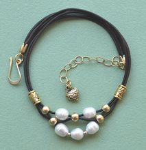 Debutante Biker: Cultured Freshwater Pearl, Brass, and Leather Necklace
