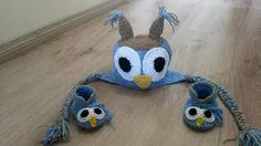 Conjunto infantil de crochê coruja azul. <br> <br>FRETE GRÁTIS SOMENTE PARA SÃO PAULO.
