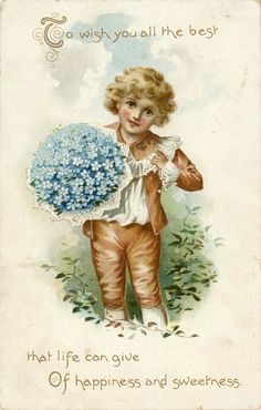 Victorian Forget Me Not postcard