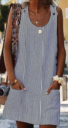 Vestidos 2019 Women'S Dresses Spring Summer Dress Crew Neck Women Dresses Shift Daily Casual Button Plain Cotton Dresses Size S Color 02 White Women's Dresses, Summer Dresses, Sleeveless Dresses, Shift Dresses, Cotton Dresses, Pretty Dresses, Fashion Dresses, Vacation Dresses, Linen Dresses