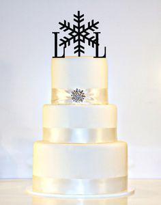 Winter Wedding Snowflake Monogram Wedding Cake by ShopTheTop, $30.00 But in silver.