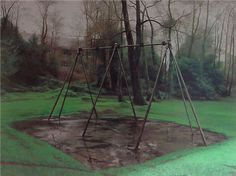 Scenes from The Passion: The Swing, George Shaw. Date completed: Painting - Enamel paint Landscape Artwork, Urban Landscape, David Hockney, Art Uk, Contemporary Paintings, Figurative Art, Installation Art, Art Blog, Painting & Drawing
