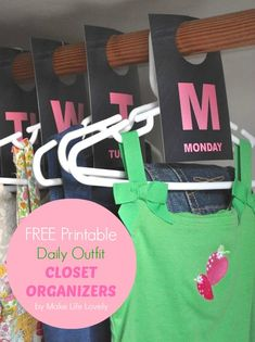 Kids Daily Outfit Hanging Closet Organizers + Free Printable