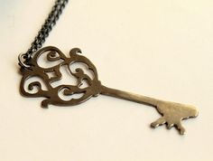 Black Steampunk Victorian Style Skeleton Key in by meltemsem
