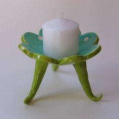 whimsical pottery Candleholder colorful ceramic soap dish