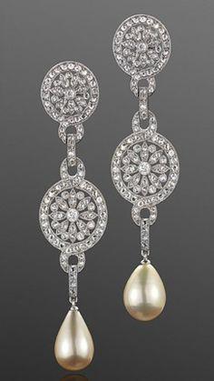 Vintage Natural Pearl and Diamond Pendant Earrings, circa 1905