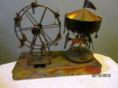 Copper carousel music box ferris wheel sculpture tin  by MrMagoos, $15.00