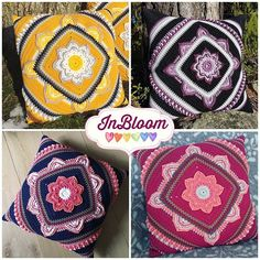 Four beautiful #inbloomcal cushions 💛🌸❤️ This CAL is made together with @favoritgarner and the pattern (Swedish and English) are available on my blog and in the FB-group: Mysterievirkning / CAL med Favoritgarner.se.  Thank you @annavirkpanna @virkevira @erika.and.crow and @palavalanka for sharing these pictures 🤗