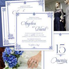Invitații de nuntă regale, în nuanțe de bleumarin, cu ornamente elegante și monogramă - yorkdeco.ro Nasa, Boarding Pass, Vintage, Shelf, Vintage Comics