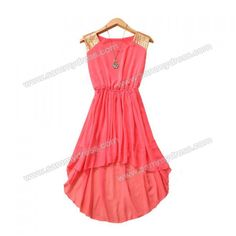 High-Low Hem Dress Sequin Embellished Sleeveless Scoop Neck Elastic Waist Women's Chiffon Refreshing (WATERMELON RED,ONE SIZE) China Wholesale - Sammydress.com