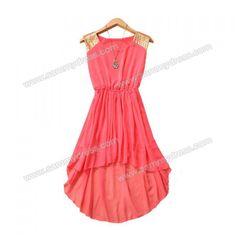 High-Low Hem Dress Sequin Embellished Sleeveless Scoop Neck Elastic Waist Women's Chiffon Refreshing (WATERMELON RED,ONE SIZE) China Wholesale - Sammydress.com