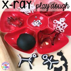 X-ray play dough tray! Community Helper themed activities and centers for preschool, pre-k, and kindergarten.
