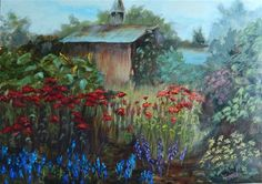 """Daily Paintworks - """"In a Field of Flowers"""" - Original Fine Art for Sale - © Lina Ferrara"""