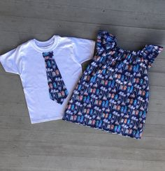 A Matching Clothing Set for Mother/ Son or Sister/ Brother or Father/Daughter. Both items are available in sizes for babies through adults. You will receive both the dress and Tshirt with this one order. The Tshirts have an appliqué necktie securely sewn on. Both items are machine washable cold. The following links will take you to other coordinating listings. Other purchases can be made by putting more into your shopping cart before checking out.  The matching skirt for Mom or...