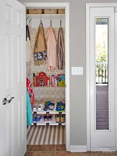 Double Closet Space with ONE Simple Swap - One simple swap gave this tiny closet the capacity to hold twice as many coats -- and look fantastic doing it. Small Coat Closet, Double Closet, Tiny Closet, Closet Redo, Closet Ideas, Front Closet, Hallway Closet, Closet Space, Coat Closet Organization