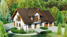Projekt domu z poddaszem Dom przy Cyprysowej 15 D o pow. 152,5 m2 z garażem 1-st., z dachem dwuspadowym, z tarasem, z wykuszem, sprawdź!