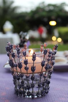 Al Baba Sweets Lavender themed reception #candle #lavender #sunset