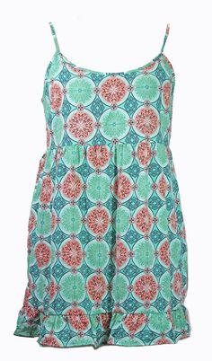 NEW One Clothing - Geometric Design Teal Green & Peach Sun Dress w/ Ruffle Hem M   eBay