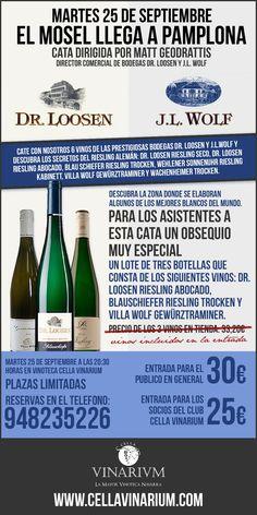 ¡Cata dirigida de vinos alemanes el 25 de Septiembre!... Solo en Vinoteca Cella Vinarium. #RieslingEnPamplona