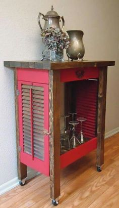 Cart made with shutters!  ~ love this! :) <3