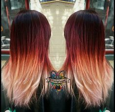red to light ombre