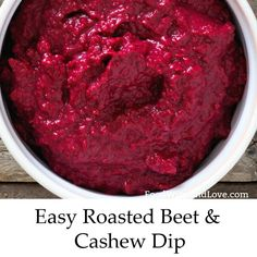 Yummy and easy vegan Mediterranean diet appetizer recipe for Easy Beet and Cashew Dip Healthy Appetizers Dips, Appetizer Recipes, Diet Snacks, Yummy Snacks, Healthy Cookie Recipes, Paleo Recipes, Tuscan Bean Soup, Mediterranean Dishes, Mediterranean Style