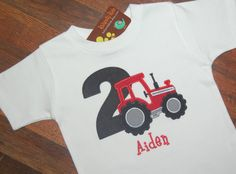Tractor Birthday Shirt, Tactor with Number, Boys Birthday Shirt, Monogrammed, Red Tractor Red Tractor Birthday, 1st Boy Birthday, 2nd Birthday Parties, Birthday Ideas, Diy Birthday Shirt, Good Birthday Presents, Tractors, Party Ideas, Diy Ideas