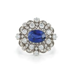 Sapphire and diamond cocktail ring from the Kwiat Vintage Collection in 18K white gold