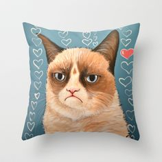 Grumpy Cat ... Love You Throw Pillow by Amy Giacomelli - $20.00