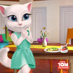 Let's start the day right! With a big, healthy breakfast! My Talking Tom, Start The Day, Game Character, My World, Hanging Out, Cheating, Angels, Yummy Food, Animation