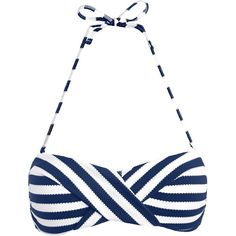 John Lewis Textured Nautical Stripe Bandeau Bikini Top , Navy / White ($39) ❤ liked on Polyvore