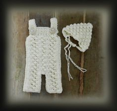 White Hand Knit Baby Romper and Bonnet/ Newborn by GabriCollection
