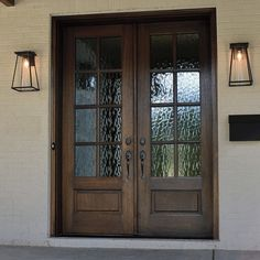 True Divided Lite Double Entry Door Sizes) Description This Andalucia 8 Lite True Divided Lite entry door is available in Double Front Entry Doors, Front Door Entryway, Wood Front Doors, Exterior Front Doors, The Doors, Front Door With Glass, Farmhouse Front Doors, Wooden Doors, Front Door Lighting