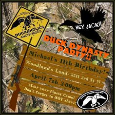Micheal's invitation Duck Dynasty Party