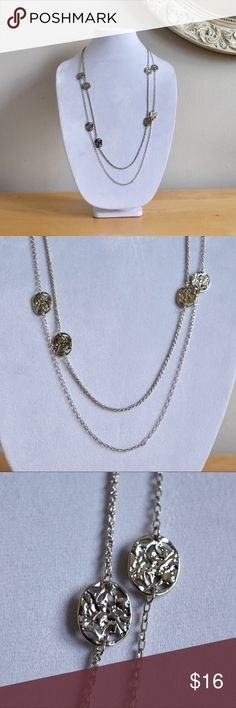 """Long Double Coin Necklace NWT Bay to Bubble necklace. All silver chain and silver plated coins approximately the size of a nickel each. Lobster clasp closure. Approximately 30"""" long. bubblebar Jewelry Necklaces"""