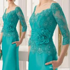 New Fashion Three Quarters Sleeves Green Evening Dress Long Mother Of The Bride Lace Dresses 2018 Plus Mother Of The Bride Dress Elegant,Wedding Mother Gowns Evening Party Gowns, Evening Dresses For Weddings, Formal Evening Dresses, Wedding Party Dresses, Elegant Dresses, Beautiful Dresses, Dress Formal, Formal Gowns, Formal Outfits