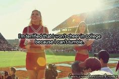 omg this is so true for me.im my high schools flyer, but i can't tumble at all. just trying to concentrate on high school till senior year fun for now. Cheer Qoutes, Cheerleading Quotes, Cheer Stunts, Cheer Dance, Cheer Sayings, Team Cheer, Sport Quotes, Quotes Quotes, Motivational Quotes