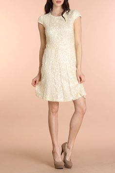 Mystree Sequin and Lace Dress in Natural - Beyond the Rack