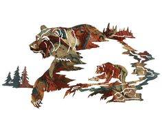 Rumble of the Grizzly Bear Metal Wall Hanging